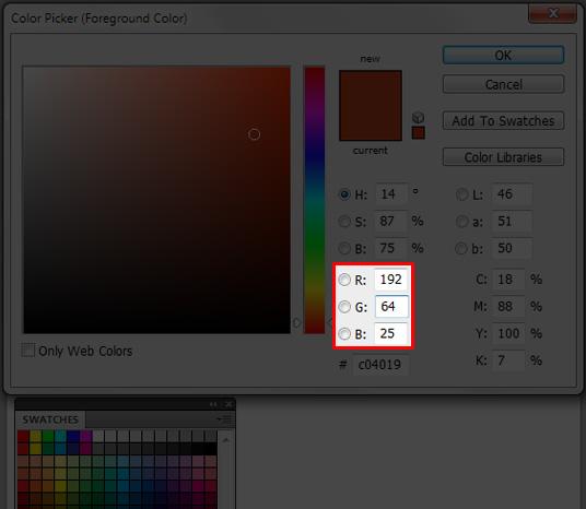 使用Photoshop的拾色器对话框来获取RGB值